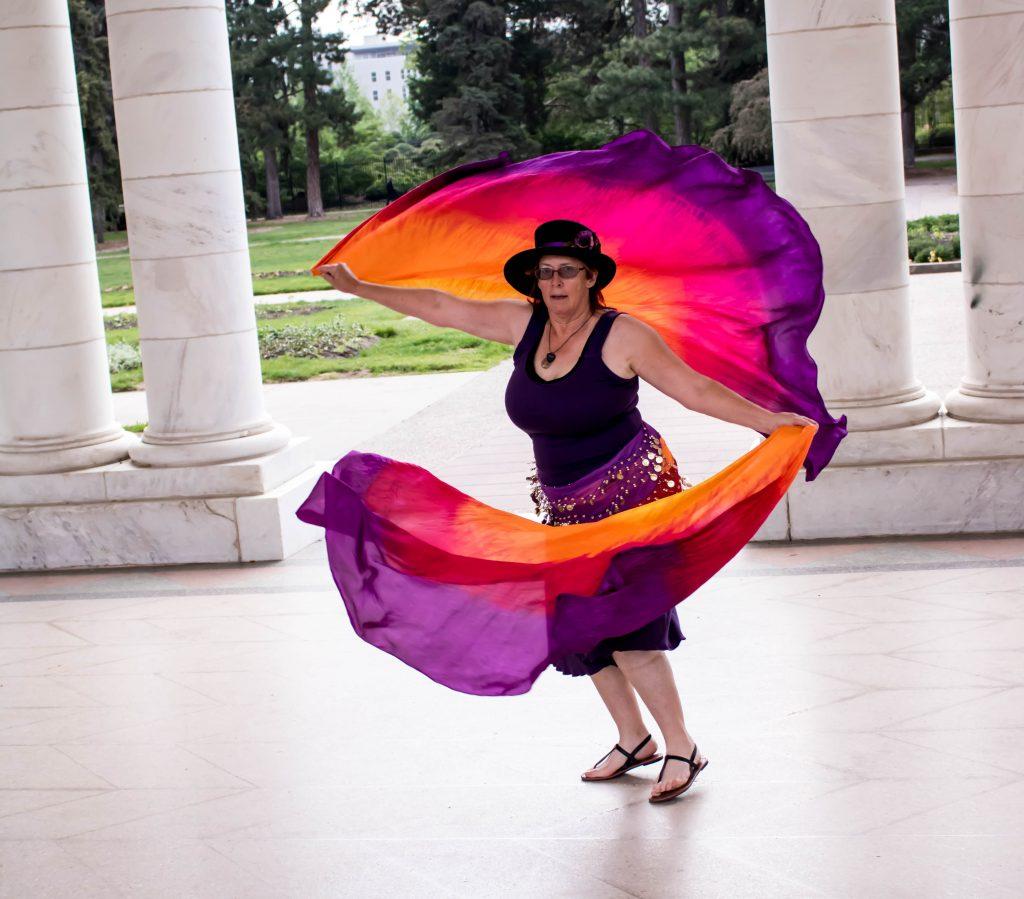 Linda M Hughes Performing Circular Veil Dance In Cheesman Park