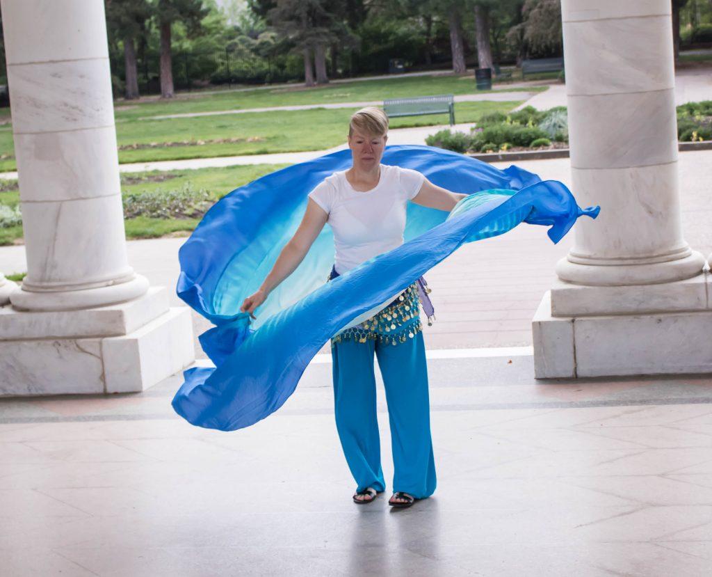 Kim Van Wagner Performing A Double Circular Veil Dance In Cheesman Park
