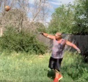 Joe Shepherd throwing stones